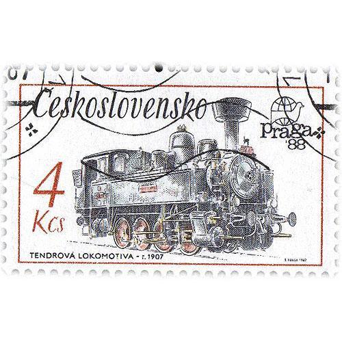Tričko s retro motivem - T60 - tendrová lokomotiva známka