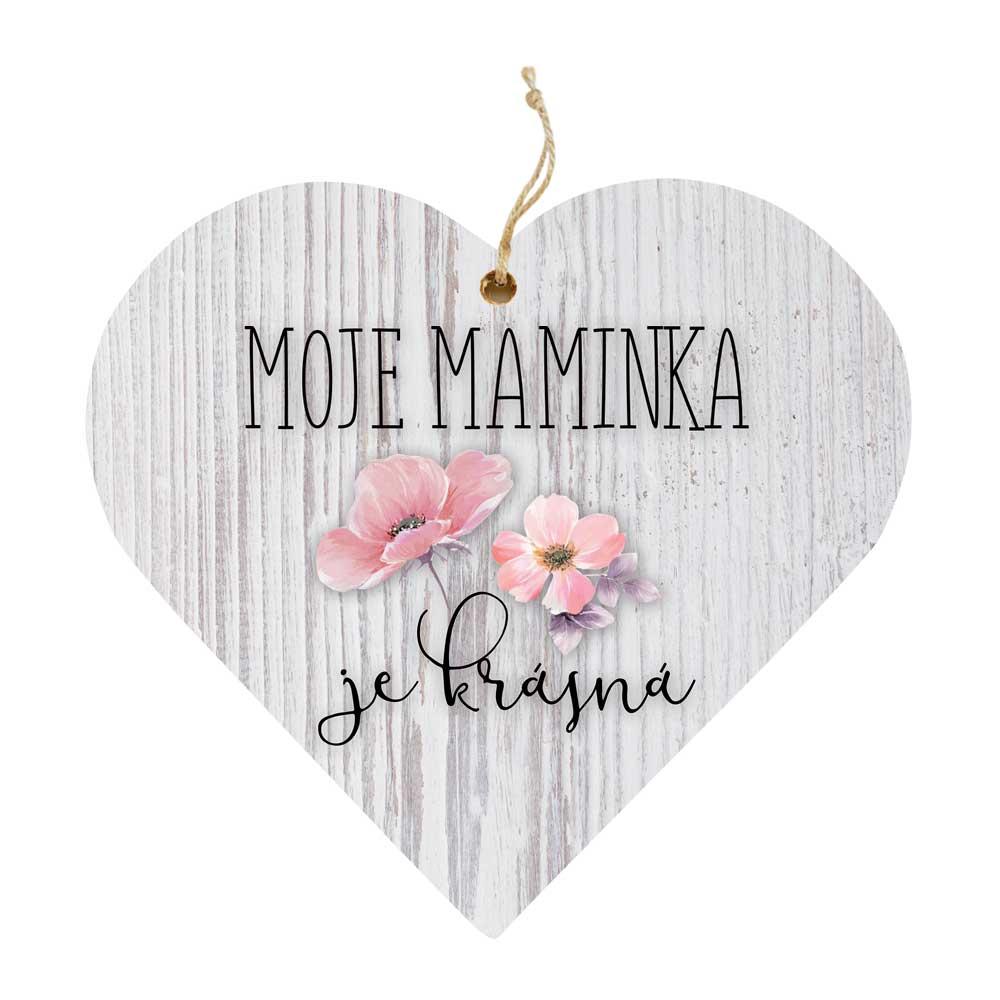Dřevěné dekorační srdce pro maminku