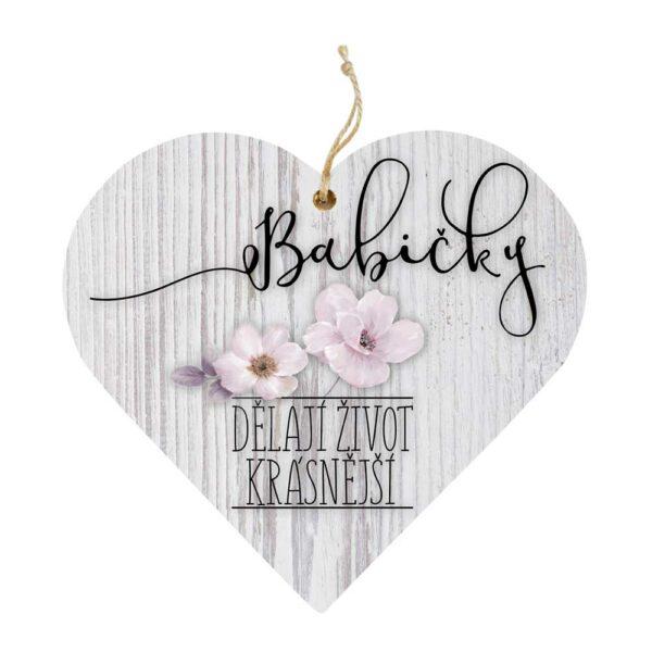 Dřevěné dekorační srdce pro babičku