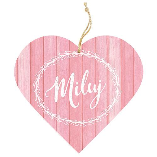 Dřevěné dekorační srdce 13 cm - miluj
