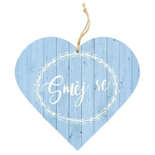 Dřevěné dekorační srdce 13 cm - směj se