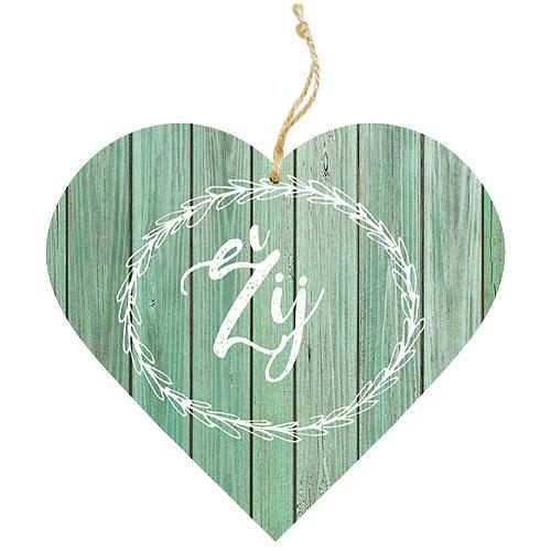 Dřevěné dekorační srdce 13 cm - žij