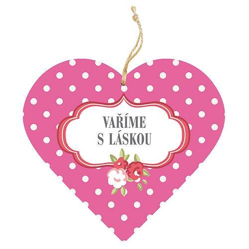 Dřevěné dekorační srdce 13 cm - vaříme s láskou