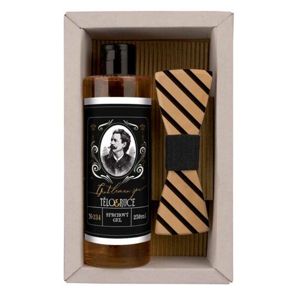Dárková sada pro muže - sprchový gel a dřevěný motýlek - gentleman