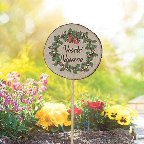 Dřevěné vánoční zapichovátko k bylinkám - Veselé Vánoce