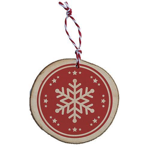 Dřevěná vánoční ozdoba - vločka - červená