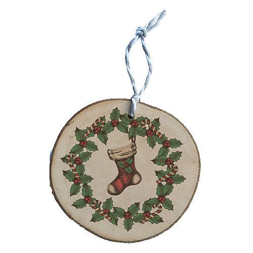 Dřevěná vánoční ozdoba - vánoční punčocha
