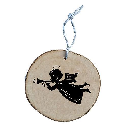 Dřevěná vánoční ozdoba - anděl s trumpetou