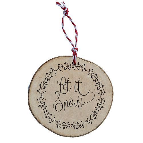 Dřevěná vánoční ozdoba - Let it snow