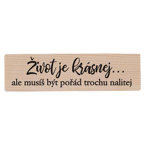 Dřevěný stojánek a skleničky - Život je krásnej