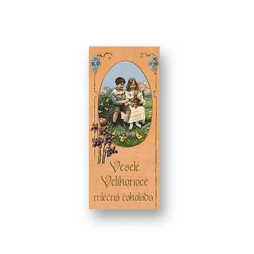 Dárková mléčná čokoláda 10 g - Velikonoce - děti se zajícem