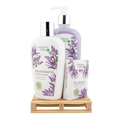 Kosmetická sada levandule - mýdlo, mléko a tuhé mýdlo