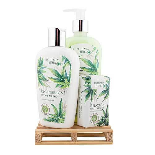Kosmetická sada konopné kosmetika - mýdlo, mléko a tuhé mýdlo