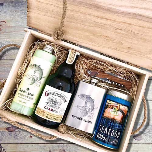 Dárkový dřevěný box pro rybáře gentlemana