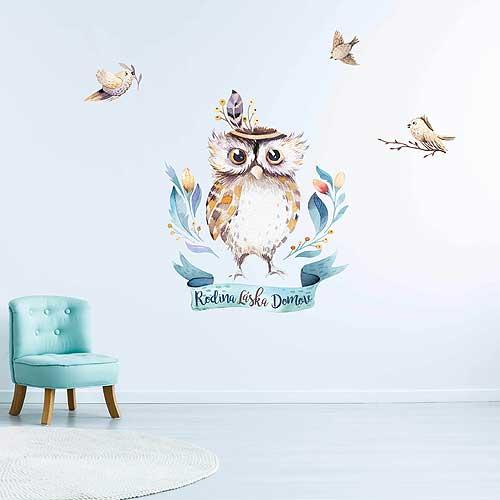 Samolepka na zeď pro děti - sova