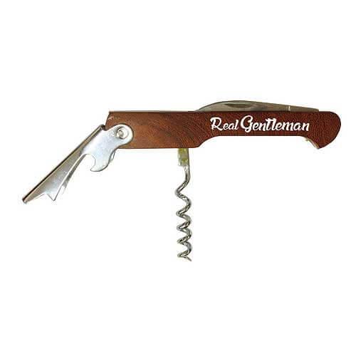 Dřevěný otvírák s vývrtkou - gentleman