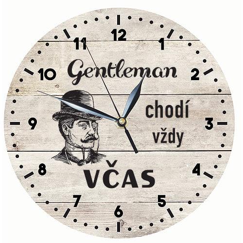 Dřevěné hodiny s potiskem pro muže - gentleman