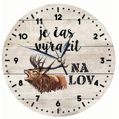 Dřevěné hodiny s potiskem pro myslivce