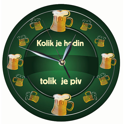 Dřevěné hodiny s potiskem - kolik je hodin tolik je piv