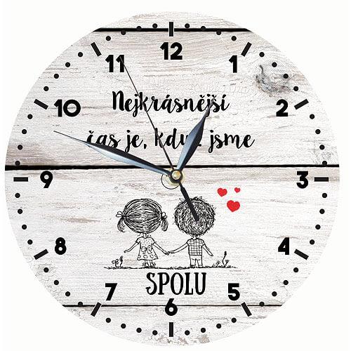 Dřevěné hodiny s potiskem - čas spolu