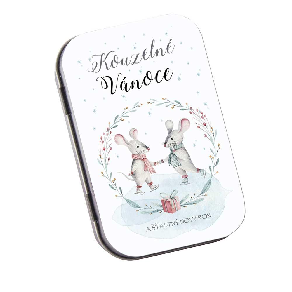 Toaletní mýdlo 80 g v plechové krabičce - krásné Vánoce - myšky