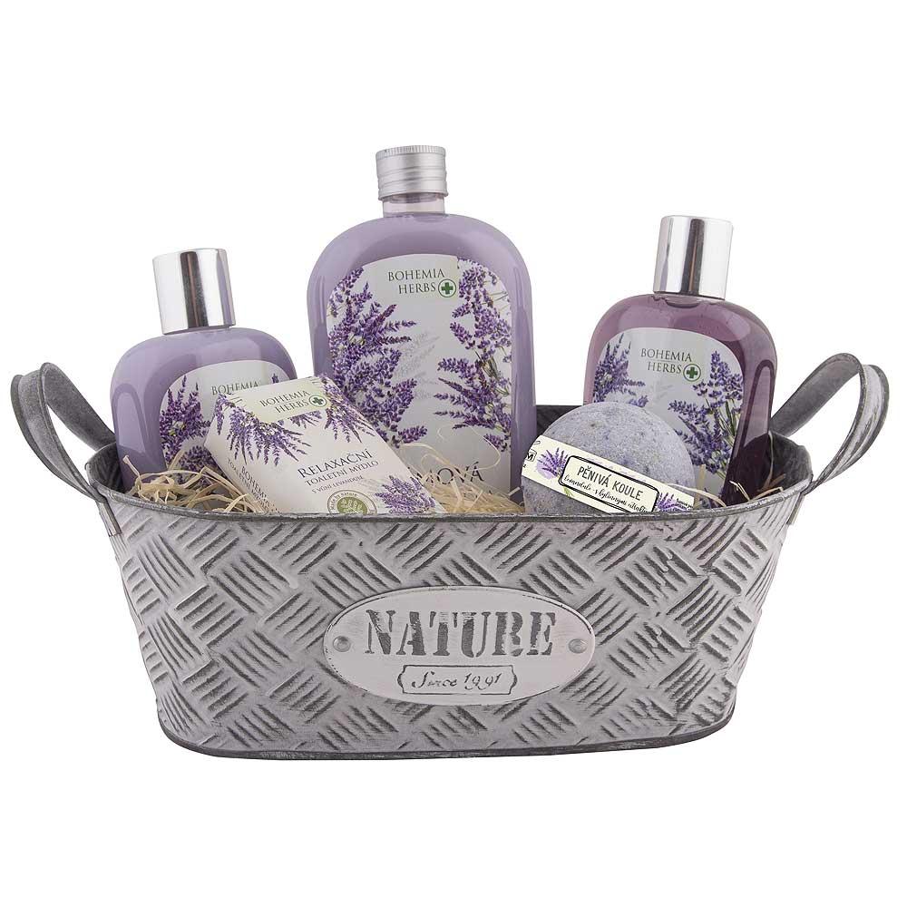Dárkový plechový box s levandulovou kosmetikou