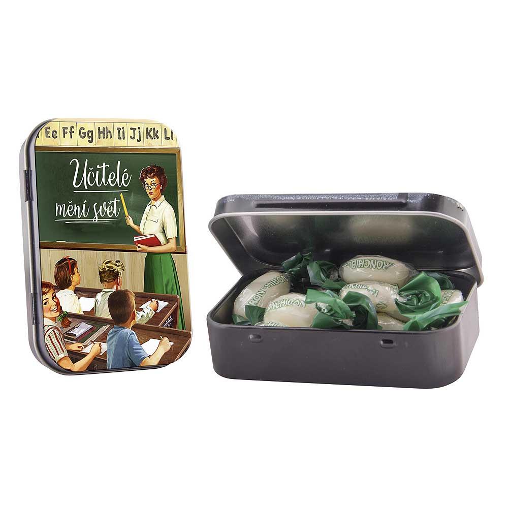 Větrové bonbony v plechové krabičce pro učitele