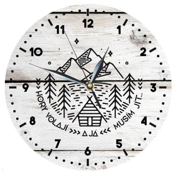 Dřevěné dekorační hodiny - hory volají