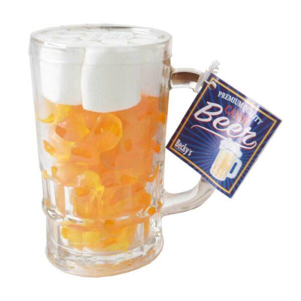 Želé bonbony a marshmallows v pivní sklenici